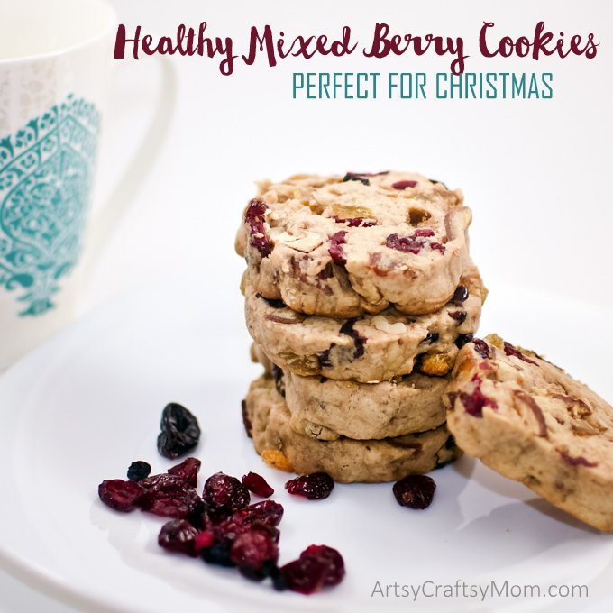 Quick, Easy and Healthy Mixed Berry Cookies perfect for Christmas - perfect mix of sweet and salty, will instantly evoke warm memories spent with family.