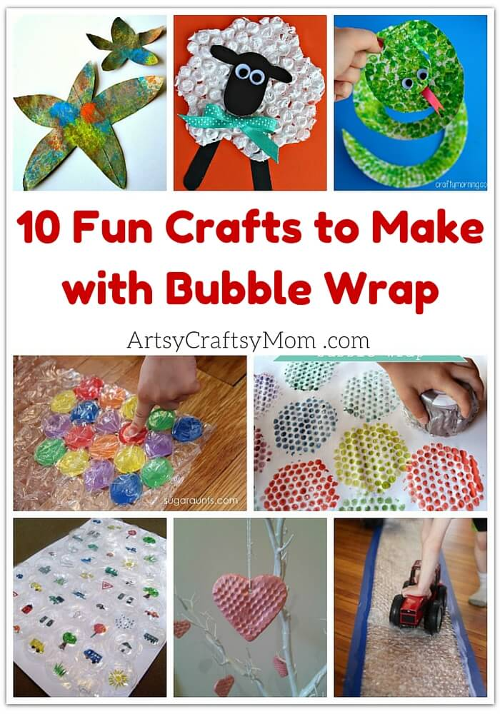 Bubble wrap can be used for more than just packing and popping! Here are 10 fun crafts to make with bubble wrap for Bubble Wrap Appreciation Day!