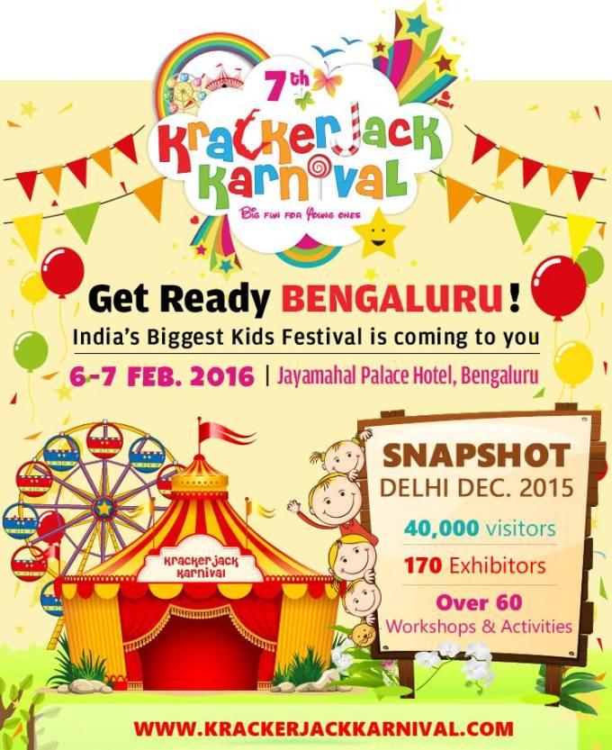 ArtsyCraftsyMom is the online partner for Krackerjack Karnival - India's biggest kids & family karnival, expo, fair & exhibition on 6th & 7th Feb Bangalore.