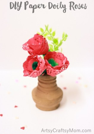 DIY Paper Doily Roses – #KIDSCRAFTSTARS challenge