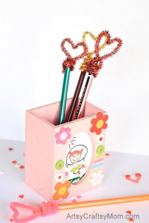 Easy Heart-Shaped Pencil Toppers For Valentines Day