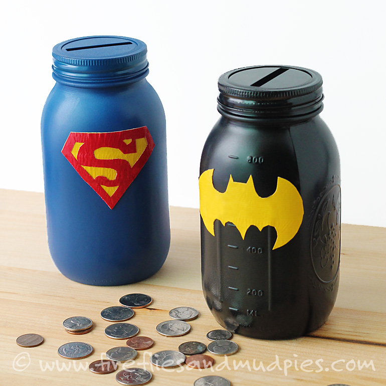 Mason-Jar-Superhero-Banks- A birthday party isn't complete without return gifts! Here are 8 Awesome Birthday Party Favors that are non-toys and both parents & kids will love.