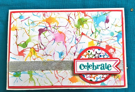 Blow painting with a straw Holi card - This Holi, add a touch of handmade love to your gifts and sweets by making Colorful Holi Gift Tags for the gifts - Paint splatter, Colorful and joyous to celebrate the Indian festival of colors in style