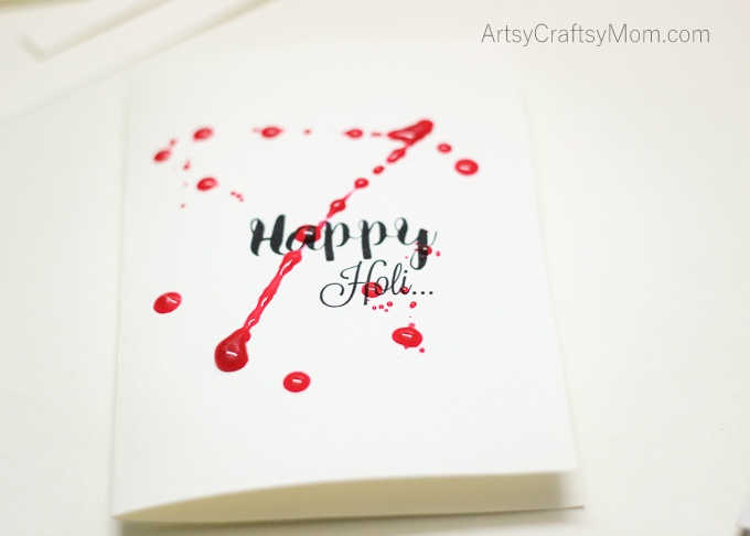 Colorful Paint Splatter cards for Holi - The Festival of Colors. Indulge in some pre-Holi fun by splashing colors on paper! Gorgeous, open-ended & each, unique.