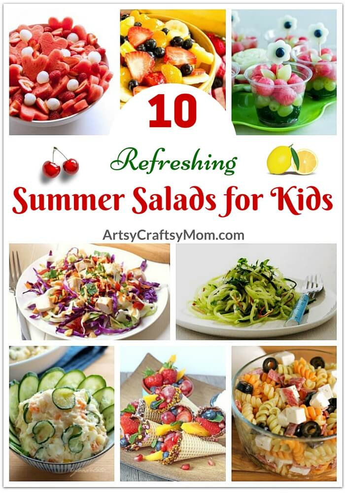 Kids prefer eating light in summers and Moms don't want to spend hours in a hot kitchen! Make everyone happy with these 10 fresh summer salads for kids.