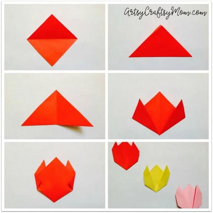 easy origami tulip craft for kids artsy craftsy mom