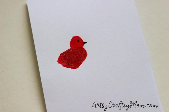 DIY Super Cute Fingerprint Bird Mother's Day Card-4