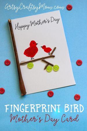 DIY Super Cute Fingerprint Bird Card