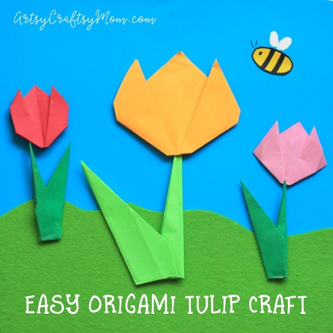Easy Origami Tulip Craft For Kids Artsy Craftsy Mom