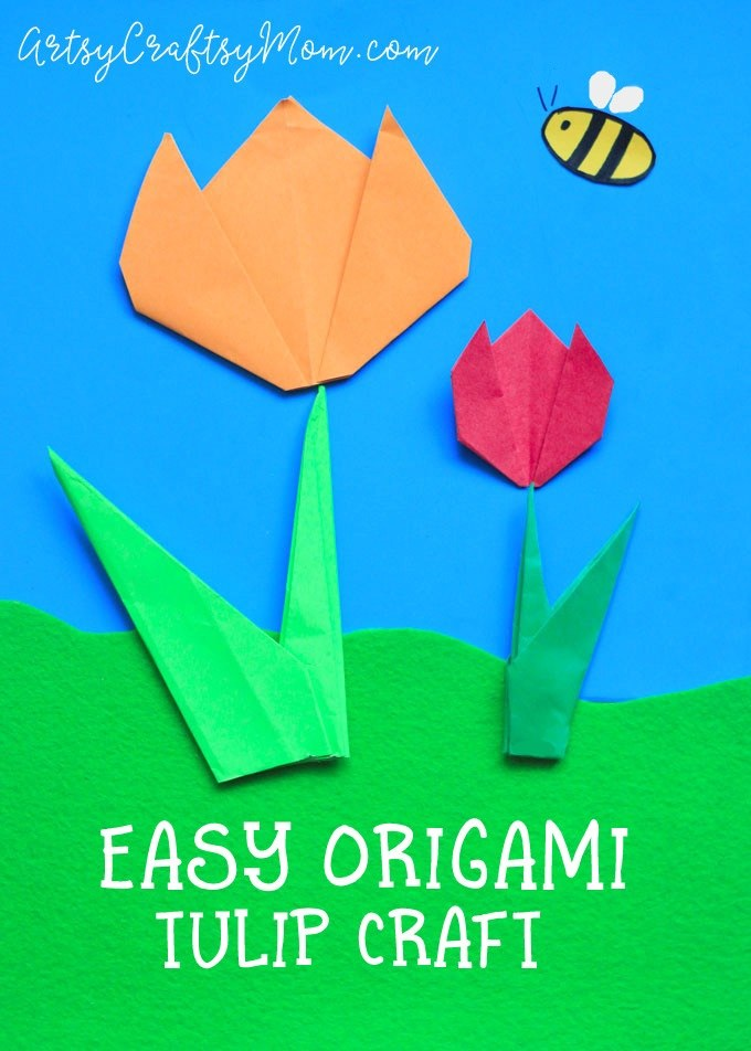 Easy Origami Tulip Craft for Kids - a perfect origami spring craft or even lovelier incorporated into a Mother's Day Card.