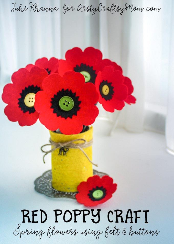 Red Poppy Flower Diy Craft For Kids