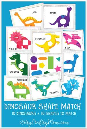 Printable Dinosaur Shape Match