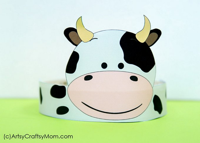 Juicy image throughout printable cow hat
