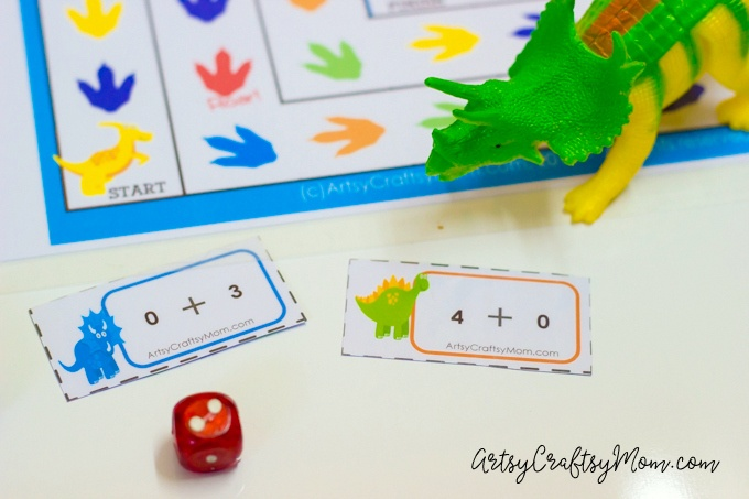 Printable Dinosaur Kindergarten Math Game! Includes 48 editable addition cards & examples to use it to practice Common Core Math Sums.