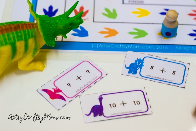 Printable Dinosaur Addition  Board Game! Includes 48 editable addition cards & examples to use it to practice Common Core Math Sums.