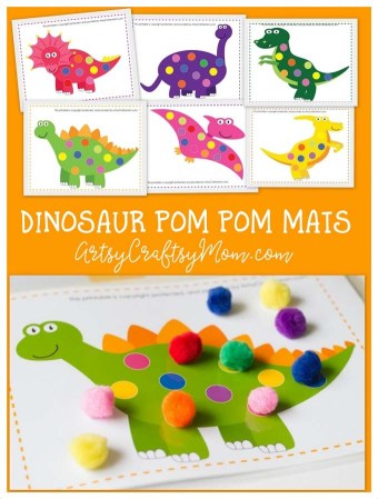 Printable Dinosaur Pom Pom Mats that your kid will Love!