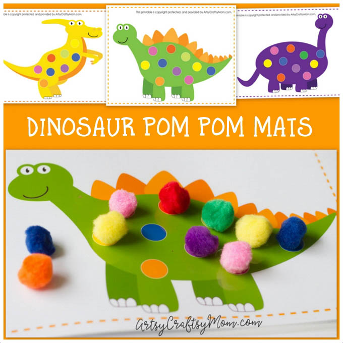 photograph relating to Dinosaur Matching Game Printable titled Printable Dinosaur Pom Pom Mats