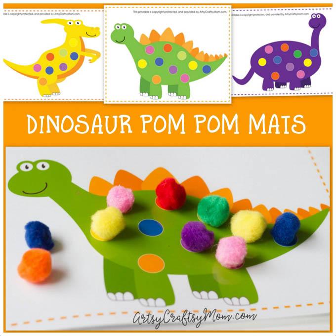 Printable Dinosaur Pom Pom Mats