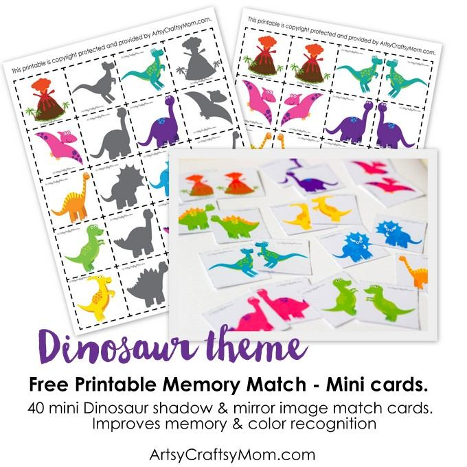 picture relating to Dinosaur Matching Game Printable called Dinosaur Memory Match Printables - Artsy Craftsy Mother