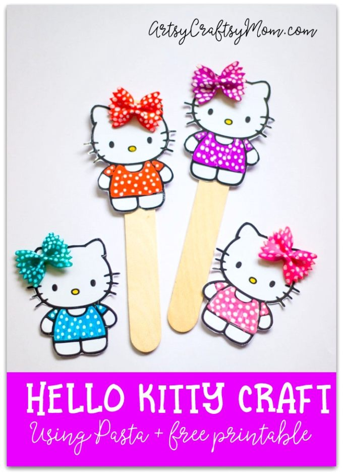 Create your own Super Cute Hello Kitty Bookmark Craft using pasta and our free printable! It's perfect for a Hello Kitty themed birthday party favor and as back to school gifts.