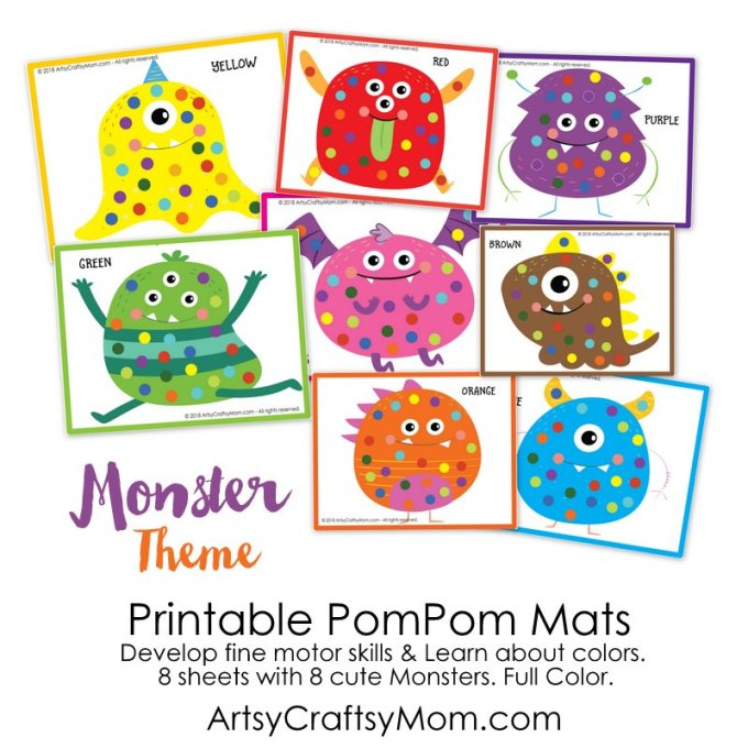 There's a lot you can do with our Printable Monster Themed Pom Pom Mats! Hone your fine motor skills and hand-eye coordination with pompoms, buttons & more!