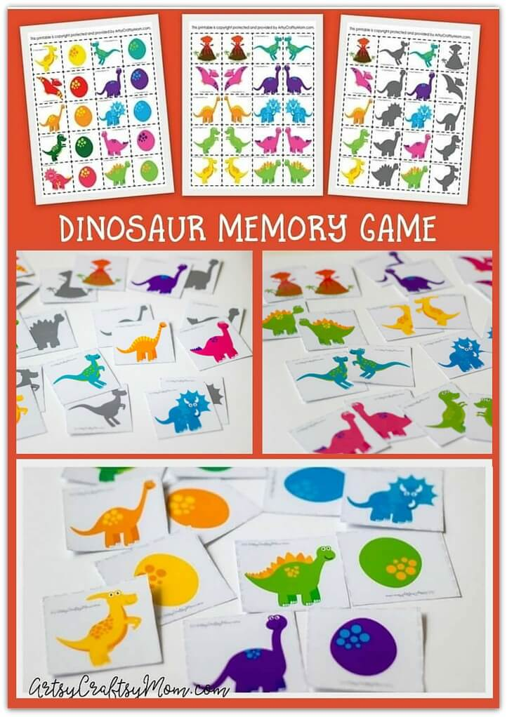 A great way to develop your child's memory is by playing a memory game! Get ready to have some fun with our 3-in-1 Dinosaur Memory Game Printables!