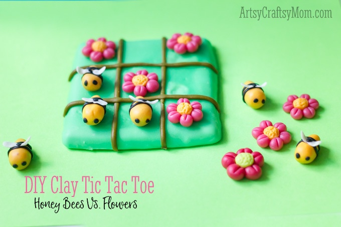 Super Easy Clay Bee Tic Tac Toe craft for kids - learn how to make a very cute tic tac toe game with easy step by step photos to guide you through! - ArtsyCraftsyMom.com