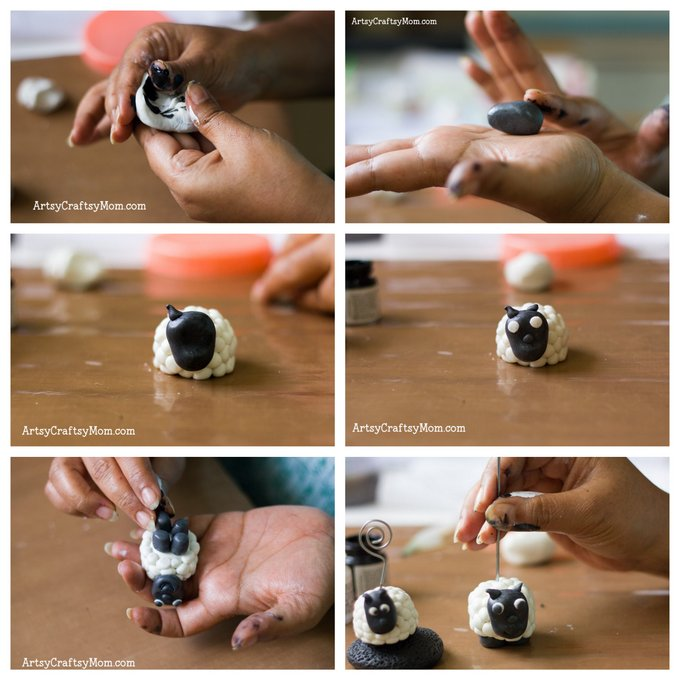 Super Easy Clay Sheep Photo holder craft for kids- learn how to make a very cute sheep photo holder with easy step by step photos to guide you through! - ArtsyCraftsyMom.com