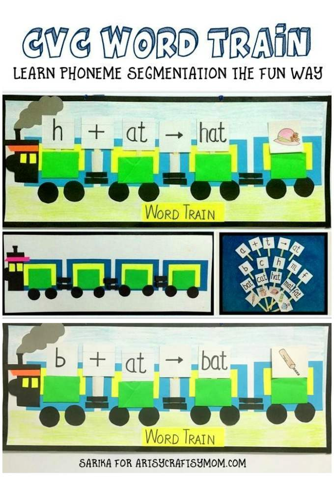 CVC word train is a teaching aid ṭo introduce CVC words for younger kids in a fun way. Provides Visual, tactile & a creative lesson idea to teach phonemics