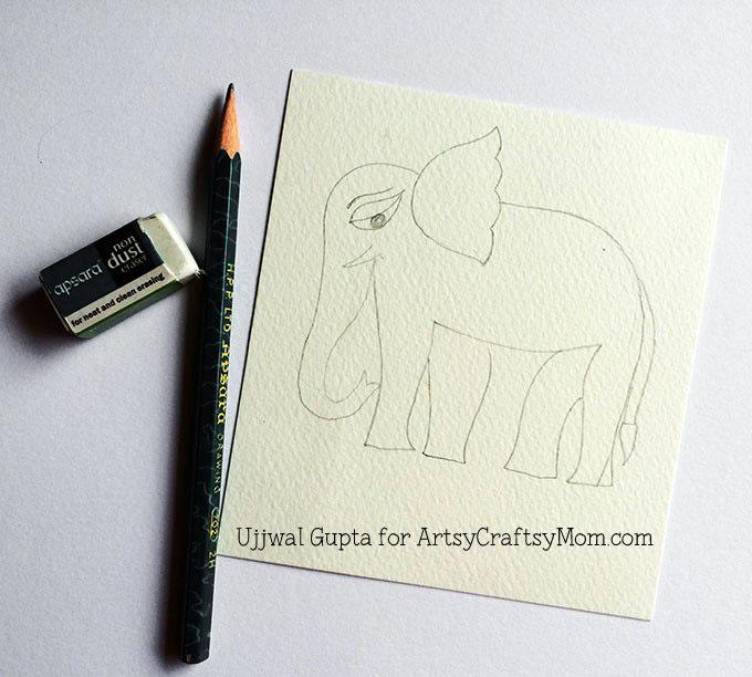Madhubani elephant bookmark Step-1