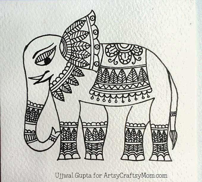 Madhubani elephant bookmark Step-4