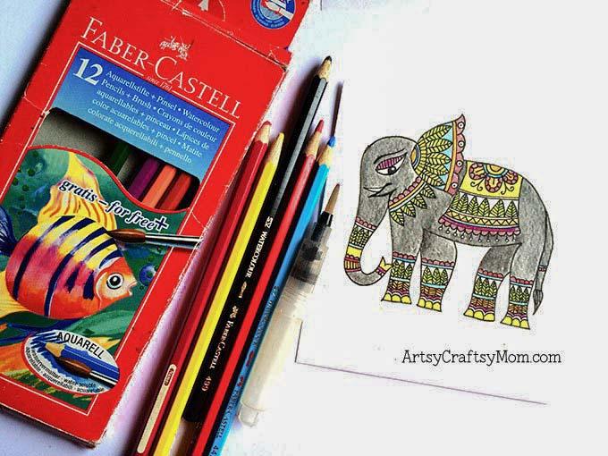 Madhubani elephant bookmark Step-5