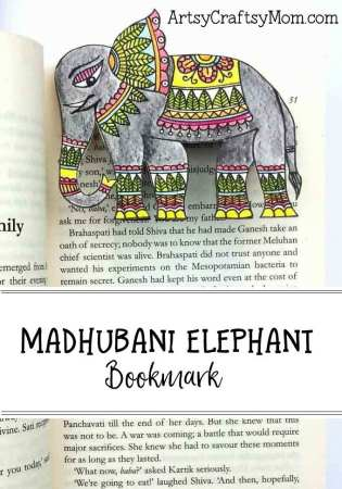 Easy Madhubani Elephant Folk Art Bookmark