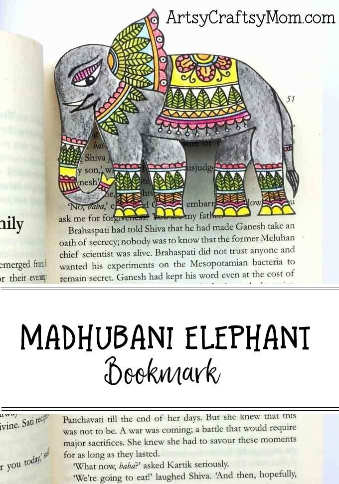 Madhubani elephant bookmark1