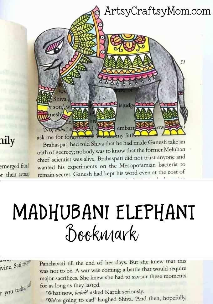 You need only basic art supplies to make this beautiful Madhubani Elephant Bookmark. Perfect for Ganesh Chathurthi or Elephant Appreciation Day.