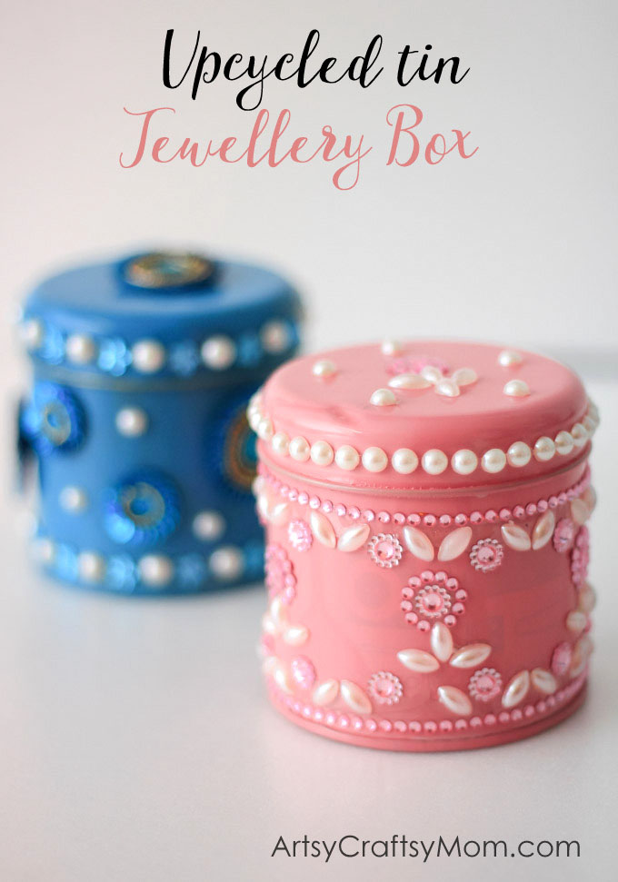 Kidmade Upcycled Tin Jewellery Boxes - use these boxes to store small knick-knacks & jewellery or even as a handmade birthday, Mother's Day or holiday gift.
