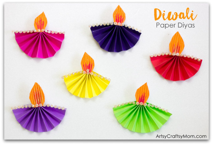 Accordion Fold Diwali Paper Diya Craft Artsy Craftsy Mom