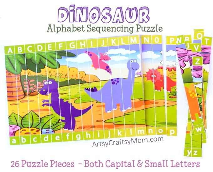 These Printable Dinosaur Alphabet Sequencing Puzzle for uppercase and lowercase are a fun & Hands-on way to teach letters and their sound to kindergartners