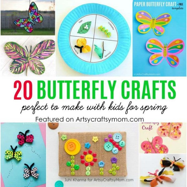Check out 20 Best Butterfly Crafts for Kids perfect for Spring. Crafts and activities about butterflies for early childhood education classrooms. #butterflycrafts #artsycraftsymom #kidscrafts