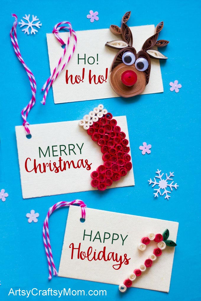 These adorable DIY Paper Quilling Christmas Gift Tags are the perfect handmade touch for your holiday presents this year! Try the reindeer, stocking or candy cane themes!