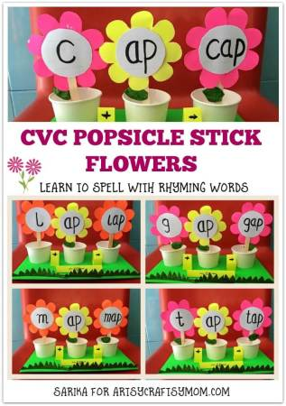 CVC Popsicle Stick Flowers to Learn Rhyming Words