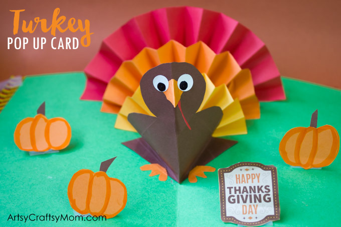 DIY Thanksgiving Turkey Pop Up Card - Here's an easy accordion fold turkey craft that pops right up to wish kids a Happy Thanksgiving Day!