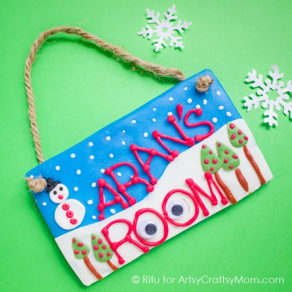 Personalize your child's room with a winter themed kid-made Clay Nameplate, made with homemade porcelain clay. Really easy to make and great to gift too!