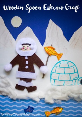 DIY Wooden Spoon Eskimo Craft and Igloo Craft