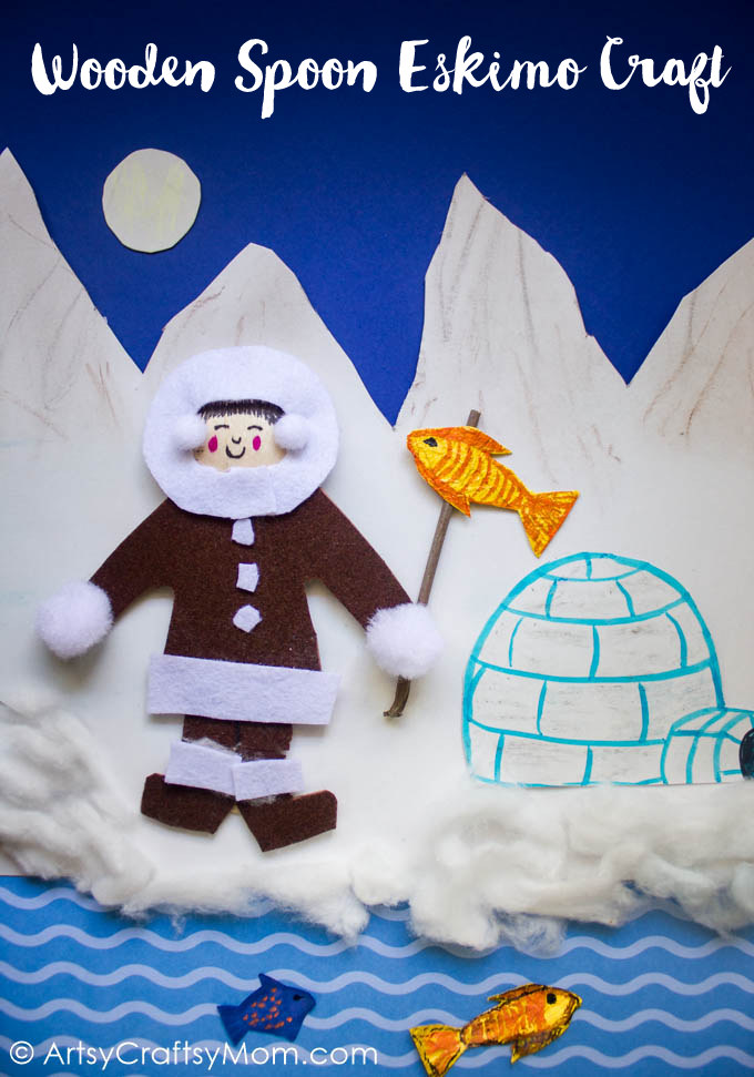 Enhance your lessons on the Inuit or Eskimo tribes of North America using a simple Wooden Spoon Eskimo Craft. Complete with snow capped mountains, a fishing pole and a cardboard igloo