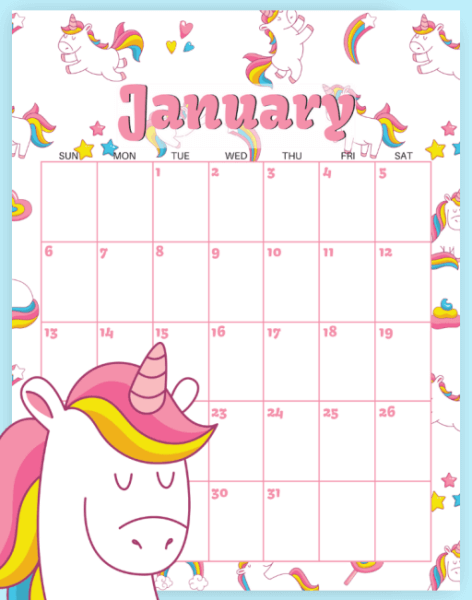 image relating to Calendars Free Printable named 10 No cost Printable Calendar Webpages for Youngsters