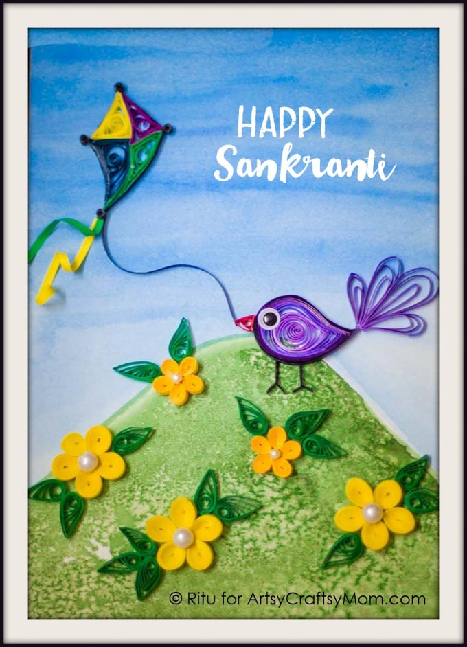 Diy quilled sankranti greeting card bring back the charm of a handmade card with this diy quilled sankranti greeting card that m4hsunfo