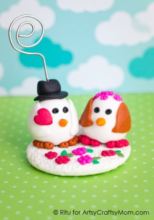 Valentine's Clay Penguin Photo Holder