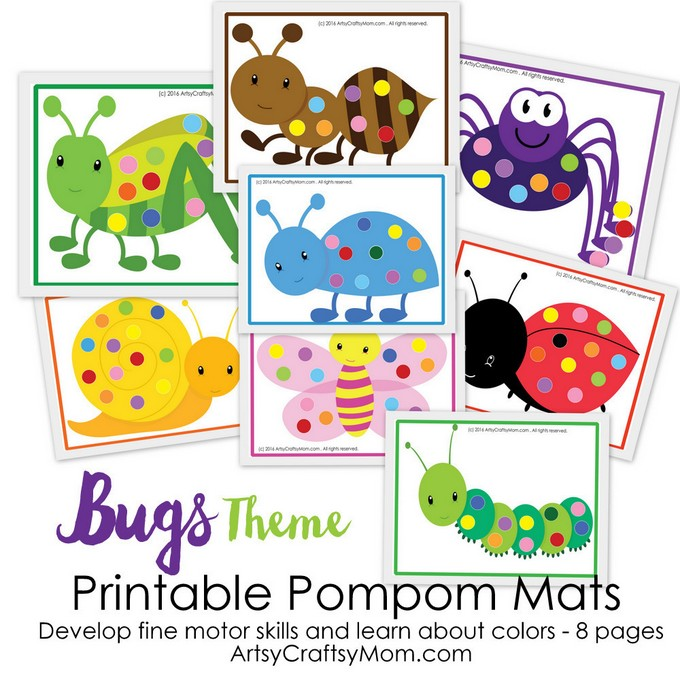 picture about Printable Mats named Printable Bug Topic Pom-Pom Video game - Artsy Craftsy Mother