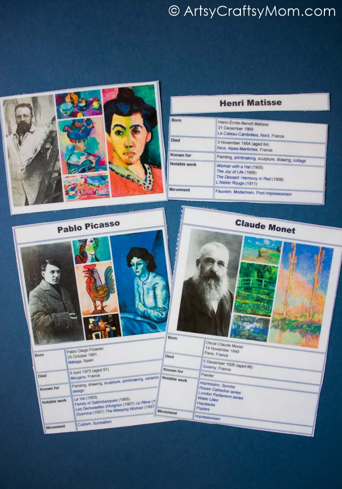 famous artists free printable puzzle and art appreciation